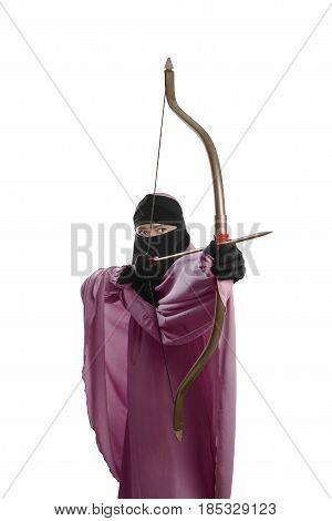 Focus Asian Muslim Woman With Hijab Ready To Shoot An Arrow