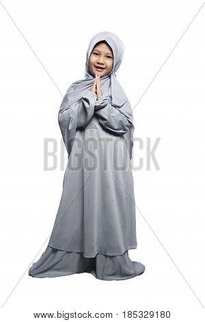 Little Asian Muslim Girl Wearing Hijab Praying