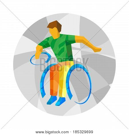 Physically disabled rugby player with abstract patterns. Wheelchair rugby for people with disabilities - vector clip art. Flat sport infographics icon.