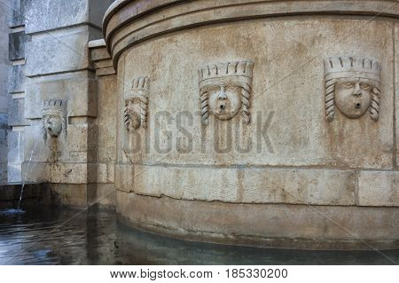 Facade of the Fountain dedicated to Ferdinand II in Piazza in Matera in Basilicata to Southern Italy to Understand a Concept of Culture and Tourism