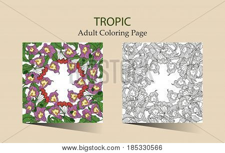 Round vector ornament with tropical callas flowers. Cloring page for adults.
