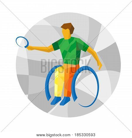 Physically disabled tennis player with abstract patterns. Table tennis for people with disabilities - vector clip art. Flat sport infographics icon.