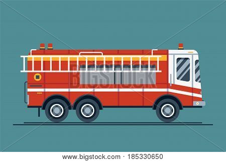 Cool vector emergency vehicle fire engine truck in trendy flat design. Firefighter operations transport fire appliance or apparatus