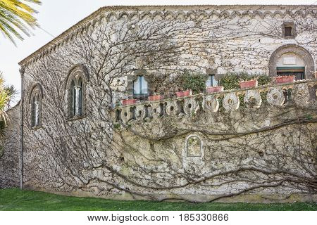 Facade of Villa Cimbrone located in the center of Ravello in Amalfi Coast Salerno Italy to understand a concept of architecture and tourism