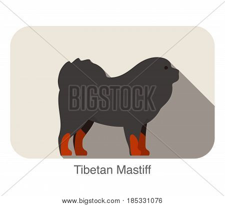 Tibetan Mastiff Dog Breed Flat Icon Design