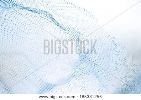 Closeup of fishnet on white background. Blue tone