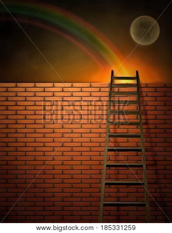 Surreal painting. Ladder and brick wall.  3D rendering  Some elements provided courtesy of NASA