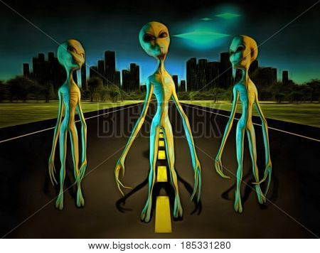 Surreal painting. Aliens on a road. City on the horizon and flying saucers in the sky.  3D rendering