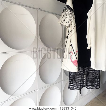Fashion boutique sale concept with clothing on a rack