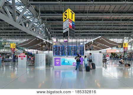 BANGKOK - MAR 01: An unidentified travellers at Suvarnabhumi International Airport on March 01, 2015 in Bangkok, Thailand. The airport handles 45 million passengers annually.
