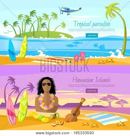 Surfer on beautiful beach. Perfect tropical paradise. Travel in summer. Tropical beach banner paradise island for rest. Travel to Hawaii Tahiti