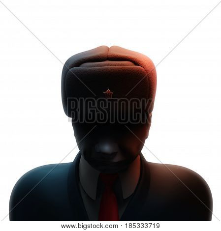 May 6, 2017: Russia blamed in hacking attack ahead of French presidential election. Russian spy with darkened face 3D illustration isolated on white