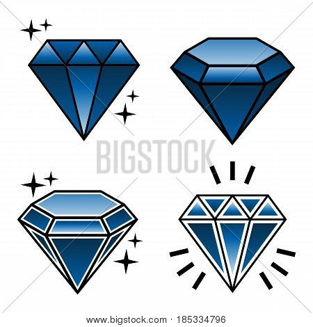 vector set of tattoo diamonds in new school style