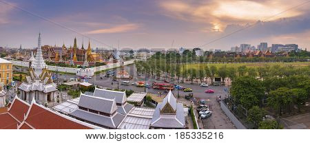 BANGKOK - AUG 16, 2015: Panorama view of Temple of the Emerald Buddha and Sanam Luang on April 16, 2014 in Bangkok, Thailand. Wat Phra Kaew is one of the most popular tourists destination in Thailand.