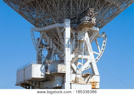 The design of the electronic telescope closeup. The details of the radio telescope.