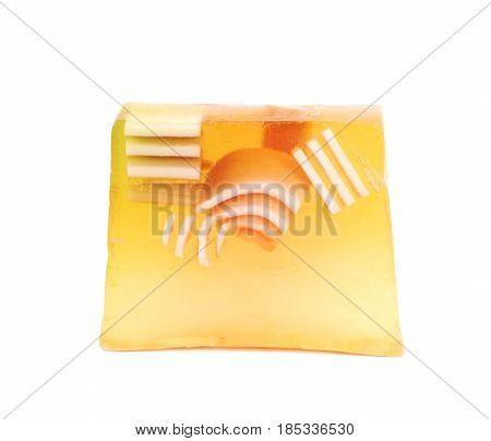 Hande made piece of a flavoured decorational soap isolated over the white background
