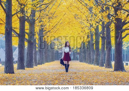 Beautiful Girl With Yellow Leaves In Nami Island, Korea. Vintage Tone Style.