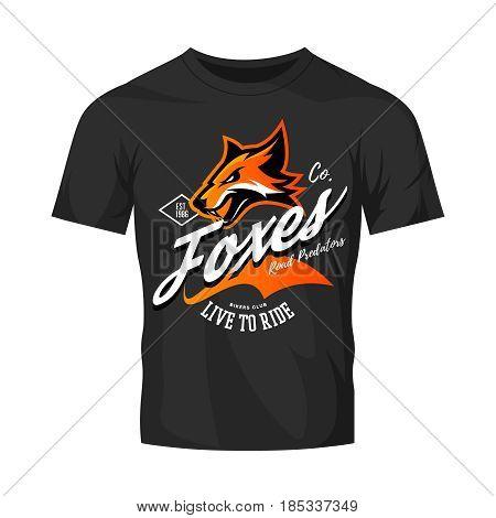 Vintage American furious fox bikers club tee print vector design isolated on black t-shirt mockup. Street wear t-shirt emblem.  Premium quality wild animal superior mascot logo concept illustration.