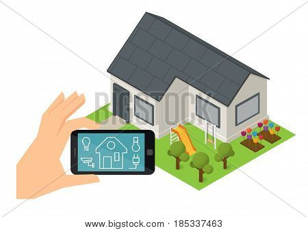 Smart house technology. Home controlling system. Isometric vector illustration