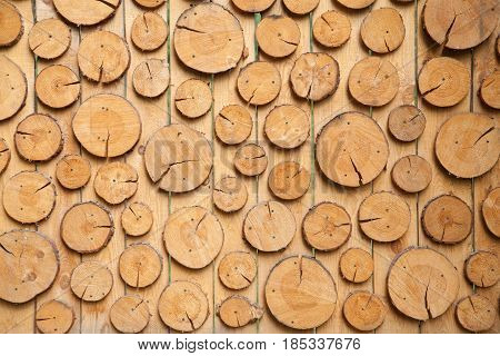 the wooden country background with round timbers