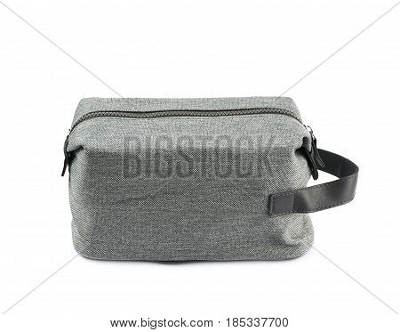 Gray hygienic handbag with the zip fastener isolated over the white background