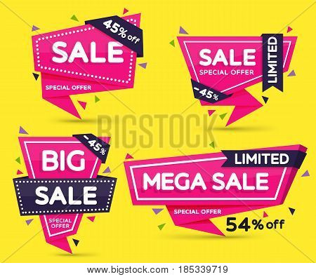 Set of pink colored stickers and banners. Geometric shapes with sharp angles. Big set of beautiful discount and promotion banners. Advertising element. Sale banner tag. Vector illustration.