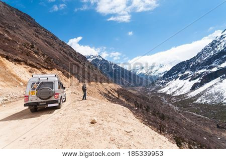 Sikkim, India - April 17: Tourist Jeep At Chopta Valley. It Is Located At 4000 Metres Above Sea Leve