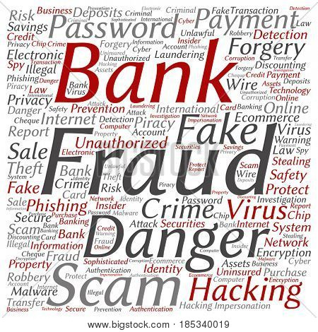 Conceptual bank fraud payment scam danger square word cloud isolated background. Collage of password hacking, virus fake authentication crime, illegal transaction or identity theft text concept