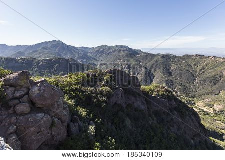 View towards Thousand Oaks from the Santa Monica Mountains National Recreation Area near Los Angeles, California.