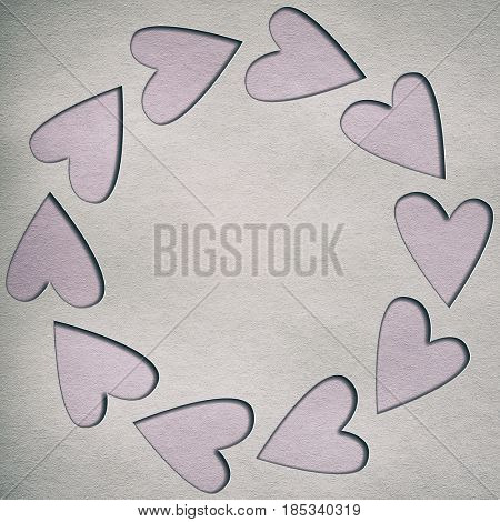 paper background with frame of hearts