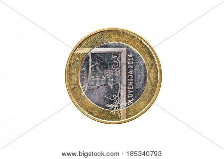 Used Commemorative Anniversary Bimetal 3 Euro Slovenia Coin 2014.