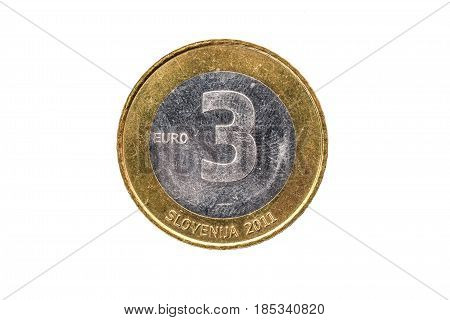 Used Commemorative Anniversary Bimetal 3 Euro Slovenia Coin 2011.