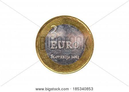 Used Commemorative Anniversary Bimetal 3 Euro Slovenia Coin 2013.