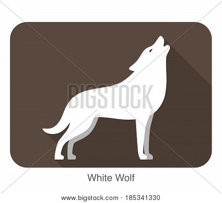 White wolf standing and roaring, vector illustration
