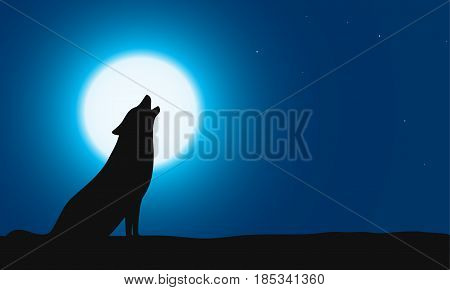Wolf Sitting And Roaring On The Ground, Background Is Moon