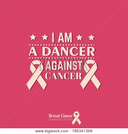 Quote typographical background about cancer with ribbon. Vector template for card poster banner and t-shirt