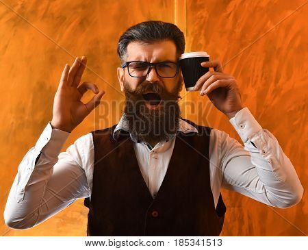 Bearded Man, Brutal Caucasian Hipster With Moustache Holding Coffee Cup