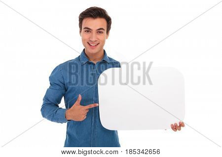 smiling casual man poiting finger to speech bubble on white background