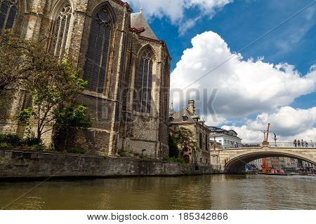 St Micheal Church And Bridge In Ghent