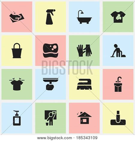Set Of 16 Editable Dry-Cleaning Icons. Includes Symbols Such As Pail, Unclean Blouse, Hand Sanitizer. Can Be Used For Web, Mobile, UI And Infographic Design.