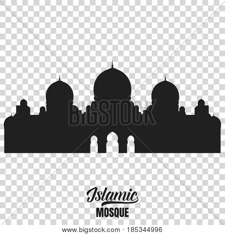 Mosque silhouette. Vector illustration of islamic mosque