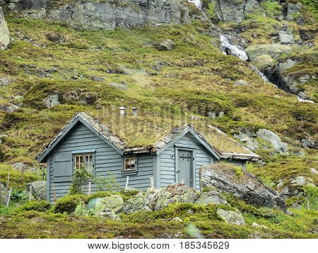 Norwegian old tourist cabine in the mountains
