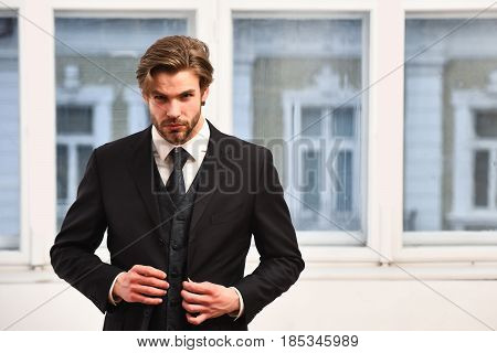 Man Or Businessman With Serious Face In Black Jacket, Tie