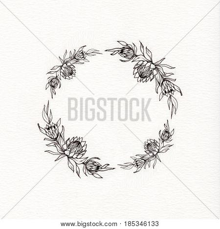 Wreath with graphic leaves and flowers of protea. Used for wedding invitation, greeting cards