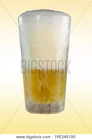 Cold glass of  beer with gradient background, close-up image