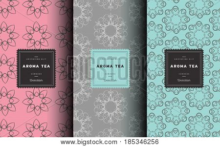 Vector set of design elements and icons in trendy linear style for tea package - white, black and green tea.