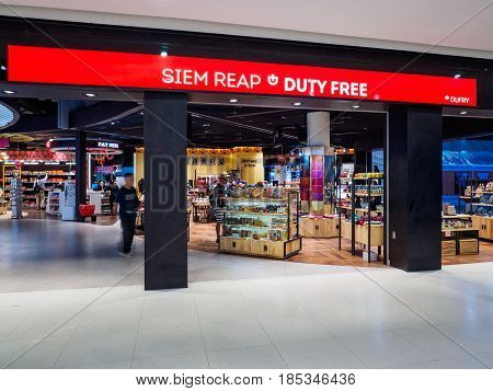 Siem Reap Cambodia - October 31 2016: Duty Free shops at Siem Reap International Airport Cambodia