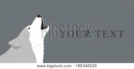 Gray wolf roaring, flat design, vector illustration