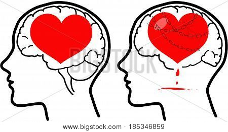 Love and reason brain and heart. Happy and unhappy version. Vector concept illustration