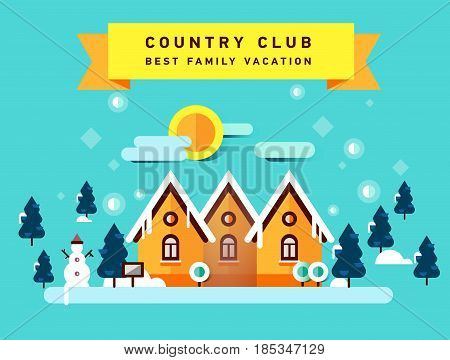 Flat illustration of winter country club. Christmas vacation. Family holiday in house in the woods. Foreat area. Winter landscape.